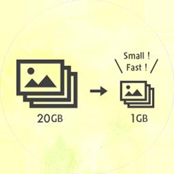 ファイルサイズをスマートフォンに最適化。だから高速、たくさん持ち運べる。